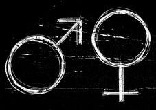 Símbolos masculinos y femeninos. Imagen de archivo