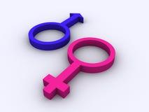 Símbolos masculinos y femeninos Fotos de archivo
