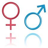 Símbolos masculinos y femeninos, aislados en blanco ilustración del vector