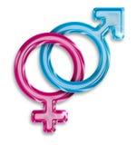 Símbolos masculinos y femeninos del género Imágenes de archivo libres de regalías