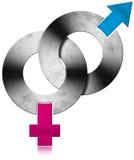Símbolos masculinos y femeninos del metal Fotografía de archivo libre de regalías