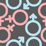 Símbolos masculinos y femeninos Modelo inconsútil Fotografía de archivo libre de regalías