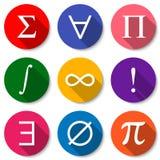 Símbolos matemáticos Sistema de iconos planos coloridos de la matemáticas con las sombras largas Ilustración del vector ilustración del vector