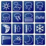 Símbolos meteorológicos Fotografia de Stock Royalty Free