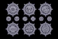 Símbolos mexicanos antigos da mitologia isolados no amuleto de pedra Asteca americano, totem nativo da cultura maia Ícones do vet ilustração do vetor