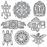 Símbolos mexicanos antiguos de la mitología del vector Azteca americano, modelos nativos del tótem de la cultura maya