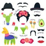 Símbolos mexicanos do partido da festa e suportes da cabine da foto Projeto do vetor ilustração stock