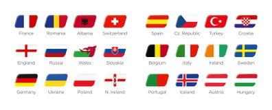 Símbolos modernos do ícone do retângulo dos países de participação ao competiam final do futebol de Europa em france 2016 Fotografia de Stock