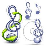 Símbolos musicais do clef Fotografia de Stock Royalty Free
