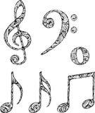 Símbolos musicales aislados con el modelo abstracto Foto de archivo libre de regalías