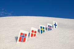 Símbolos nórdicos do país de Europa imagens de stock