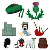 Símbolos nacionais de Escócia Atrações escocesas Ícone do país de Escócia na coleção do grupo no vetor do estilo dos desenhos ani Foto de Stock Royalty Free
