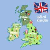 Símbolos nacionais do mapa de Reino Unido dos desenhos animados do vetor ilustração stock