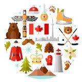 Símbolos nacionales tradicionales de Canadá Sistema de iconos canadienses Ejemplo del vector en estilo plano