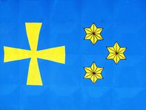 Símbolos nacionales y banderas de distritos de la región de Poltava stock de ilustración