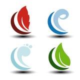 Símbolos naturales - fuego, aire, agua, iconos de la naturaleza con la llama, aire de la burbuja, agua de la onda y hoja Elemento stock de ilustración