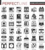 Símbolos negros clásicos del concepto de los aparatos electrodomésticos mini Ejemplos modernos del vector del pictograma del icon Fotos de archivo libres de regalías
