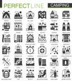 Símbolos negros clásicos del concepto del verano que acampan mini Vector que camina los ejemplos modernos del pictograma del icon Fotografía de archivo libre de regalías