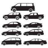 Símbolos negros - coches de la historieta Imágenes de archivo libres de regalías