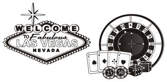 Símbolos no coloreados del casino Imagen de archivo