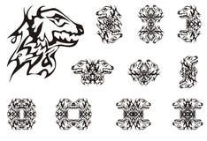 Símbolos novos abstratos da cabeça do dragão Fotos de Stock Royalty Free