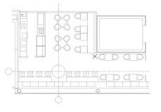 Símbolos padrão da mobília do café em plantas baixas Imagens de Stock