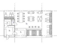 Símbolos padrão da mobília usados em planos da arquitetura Foto de Stock