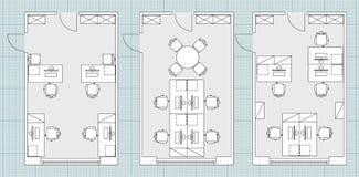 Símbolos padrão do mobiliário de escritório em plantas baixas Fotografia de Stock Royalty Free