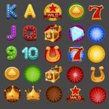 Símbolos para el juego de las ranuras Imágenes de archivo libres de regalías