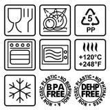 Símbolos para marcar platos plásticos Imágenes de archivo libres de regalías