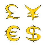 Símbolos para o euro, o dólar, a libra e os ienes Fotografia de Stock