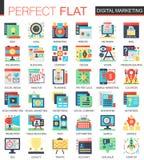Símbolos planos complejos del concepto del icono del vector del márketing de Digitaces para el diseño infographic del web Fotografía de archivo libre de regalías