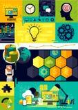 Símbolos planos de Infographic del diseño stock de ilustración
