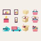 Símbolos planos del comercio electrónico del vector del diseño ilustración del vector