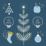 Símbolos planos e iconos del día de fiesta azul de moda de la Navidad fijados Imágenes de archivo libres de regalías