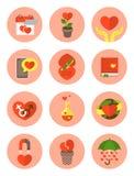 Símbolos planos modernos del amor Imágenes de archivo libres de regalías