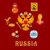 Símbolos planos nacionales tradicionales rusos Imagen de archivo libre de regalías