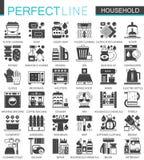 Símbolos pretos clássicos do conceito do agregado familiar mini Ilustrações modernas do vetor do pictograma do ícone dos aparelho Fotografia de Stock