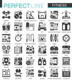 Símbolos pretos clássicos do conceito do esporte e da aptidão mini Ilustrações modernas do pictograma do ícone do vetor ajustadas ilustração stock