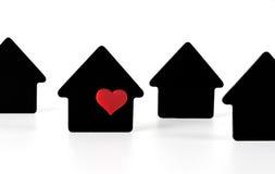 Símbolos pretos da casa no fundo branco Imagens de Stock Royalty Free