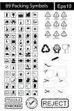 89 símbolos pretos da embalagem Imagens de Stock