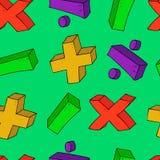 Símbolos psttern inconsútiles de la matemáticas de la historieta Foto de archivo libre de regalías