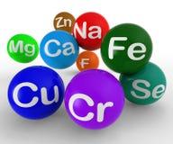 Símbolos químicos que muestran química y ciencia ilustración del vector