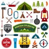 Símbolos que acampan ilustración del vector