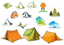 Símbolos que acampan con las tiendas y la naturaleza Fotografía de archivo libre de regalías