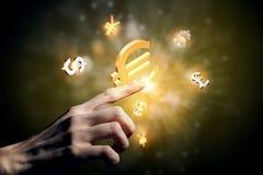 Símbolos que brillan intensamente de la moneda Imagen de archivo libre de regalías