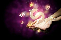 Símbolos que brillan intensamente de la moneda Imagen de archivo