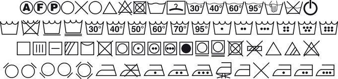 Símbolos que se lavan Imagen de archivo libre de regalías