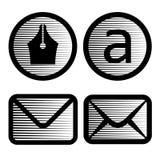 Símbolos rayados del email Imagen de archivo