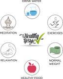 Símbolos saudáveis dos conselhos do estilo de vida ilustração royalty free